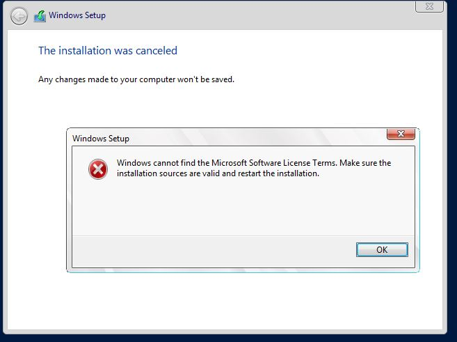 Windows cannot find the microsoft software license term