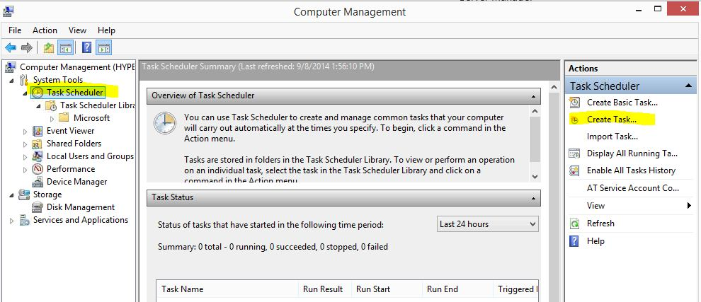 computer management - create task