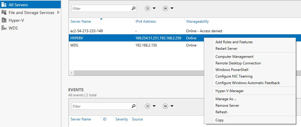 right mouse click on hyperv server